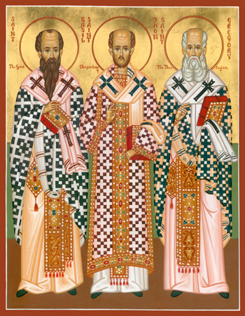 Icon of the Three Holy Hierarchs (SS. Basil the Great, John Chrysostom, and Gregory the Theologian)
