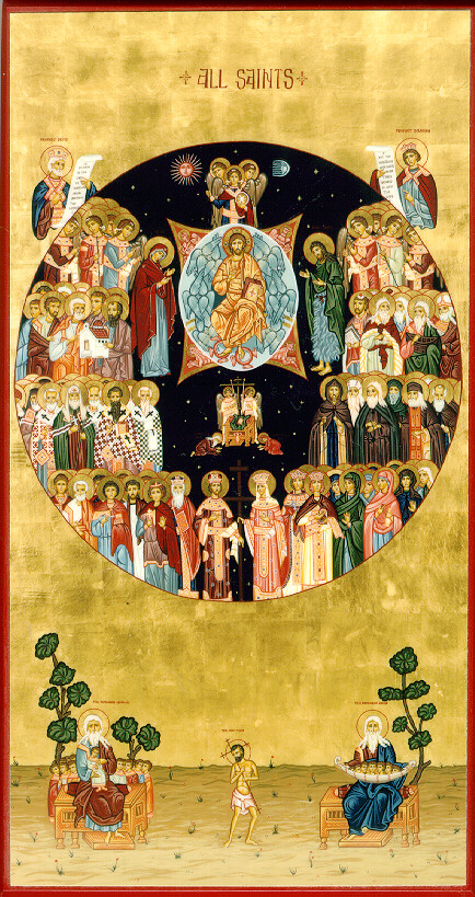 All Saints icon by the hand of Erin Mary Kimmet. The icon at All Saints, Salina is believed to be the first All Saints icon written in English