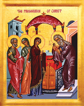 Icon of the Meeting of the Lord in the Temple, which feast is also called the Purification of the Virgin, the Presentation, or in the West